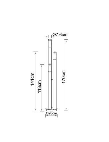 Lampa de exterior otel inoxidabil opal, 3 becuri, dulie E27, Globo 3159-3