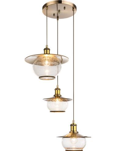 Pendul bronz sticla, 3 becuri, dulie E27, Globo 69030-3H