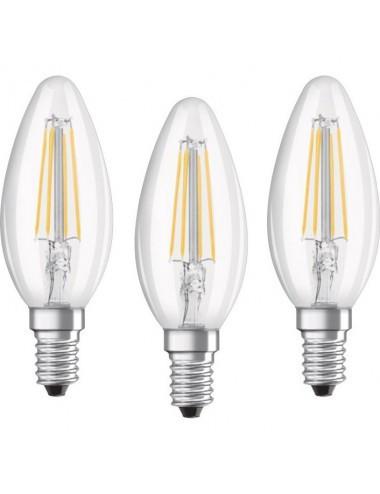 Set 3 becuri LED Osram B40, E14, 4W (40W), 470 lm, lumina rece