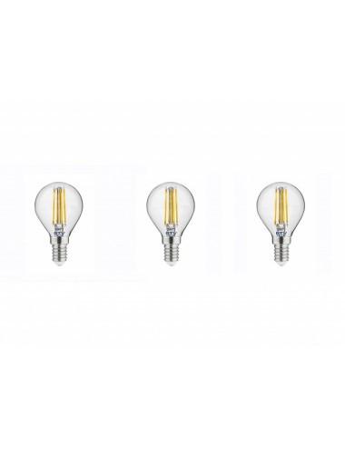 Set 3 becuri led sferice E14, 4W (35 W), 400lm, lumina calda, A+, GTV