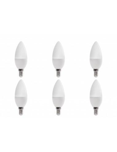 Set 6 becuri led E14, lumanare, 6W (40 W), 4500K, 480 lm, lumina alba naturala, A+, Optonica