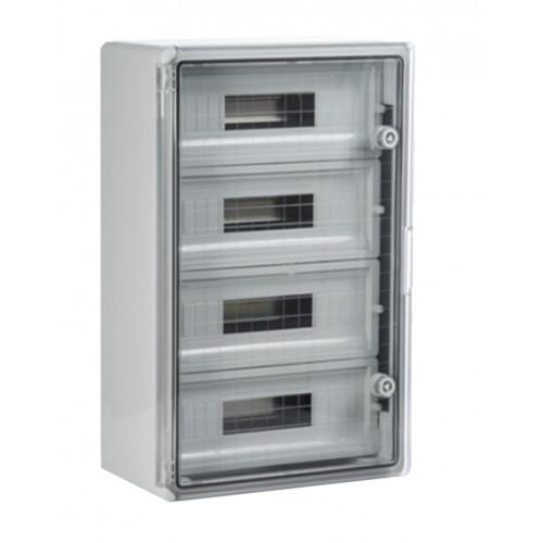 Panou 30x40x17 ABS 12x2 sigurante, neechipat, IP65 usa transparenta