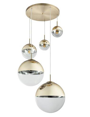 Pendul auriu mat, 5 becuri, dulie E27, Globo 15855-5