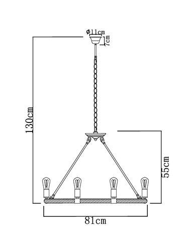 Pendul metal negru cu funie de canepa maro, 8 becuri, dulie E27, Globo 69029-8