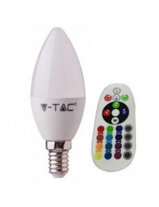 Bec led E14, RGB+4000K, cu telecomanda, 3.5W(30W),320lm, A+, V-TAC