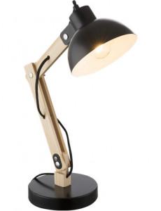 Lampa de birou lemn si metal negru, 1 bec, dulie E27, Globo 21504