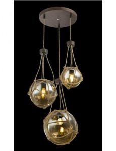 Pendul metal ruginiu cu franghie, 3 becuri, dulie E27, Globo 15859-3H