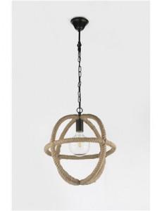 Pendul negru cu inele din funie de canepa maro, 1 bec, dulie E27, Globo 69029
