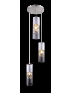 Pendul nichel mat argintiu, 3 becuri, dulie E27, Globo 15908-3S