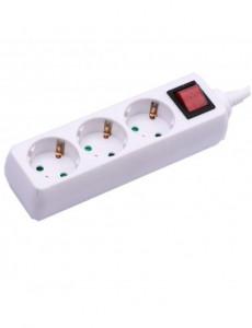 Prelungitor 3 prize 5 metri, cablu 3x1.5, cu intrerupator, alb, V-TAC