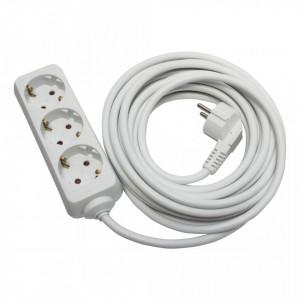Prelungitor 3 prize 7 metri, cablu 3x1, max 10A, alb, Strohm