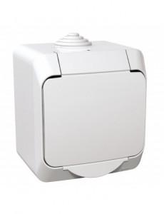 Priza simpla cu pamantare si capac, 16A, IP44, alb, Schneider Cedar