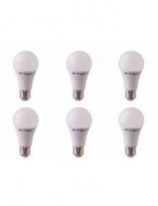 Set 6 becuri led chip Samsung 9W(60W), E27, 806 lm, A+, lumina calda, V-TAC