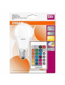 Bec LED RGB Osram A60, cu telecomanda, E27, 9W (60W), 806 lm