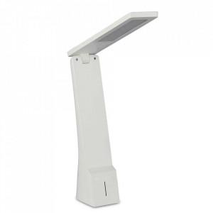 Lampa LED de birou 4W, argintiu+alb, reincarcabil, 3 trepte lumina, V-TAC