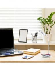 Lampa LED de birou rotunda alba, control touch, Port USB, 5W, 800lux , Incarcare Telefon Wireless, Dimabila 4 Trepte, V-TAC