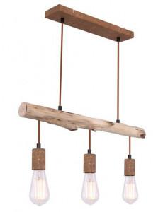 Pendul aramiu din lemn, 3 becuri, dulie E27, Globo 15327-3N