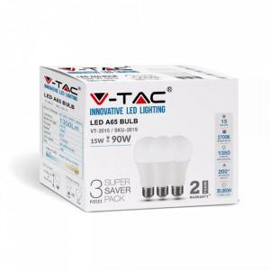 Set 3 becuri led E27, 15W(90W), lumina calda(2700K), 1350 lm, A+, V-TAC