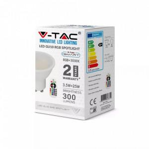 Bec led GU10, RGB+4000K, cu telecomanda, 3.5W(25W), 290lm, A+, V-TAC