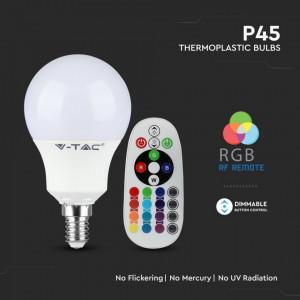 Bec led P45, E14, RGB+4000K, cu telecomanda, 3.5W(30W), 320lm, A+,V-TAC