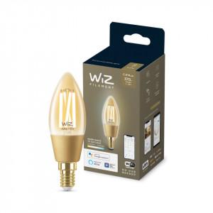 Bec LED smart vintage WiZ, auriu, forma C35, Wi-Fi, dulie E27, 4.9W (25W), 370 lm, temperatura lumina reglabila (2000K-5000K), compatibil Google Assistant/Alexa/Siri