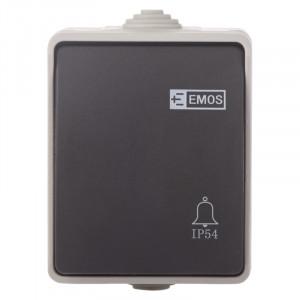 Buton sonerie, 10A, montaj aplicat, protectie IP44, pentru exterior, Emos