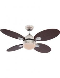 Candelabru cu ventilator Globo 0318, 1 bec, dulie E14, nichel mat