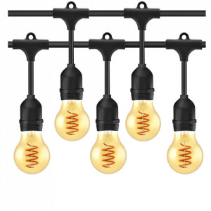 Ghirlanda luminoasa 15 metri + 15 becuri vintage LED aurii 5W, filament rasucit, protectie IP44