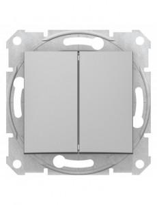Intrerupator dublu alternativ, 10A, IP20, Aluminiu, Schneider Sedna