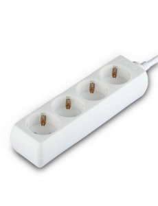 Prelungitor 4 prize 3 metri, cablu 3x1.5, alb, V-TAC