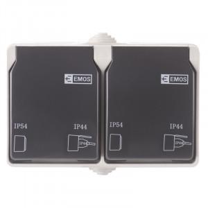 Priza dubla cu impamantare si protectie, cu capac, 16A, montaj aplicat, protectie IP44, pentru exterior, Emos