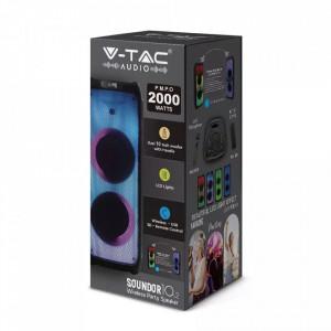 Boxa reincarcabila V-TAC, 100W, 2x 10 inch, True Wireless Stereo, microfon fara fir inclus