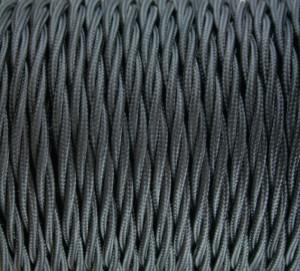 Cablu Textil Rasucit Negru 2x0,75