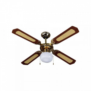 Candelabru clasic cu ventilator 50W, intrerupator pe fir, 1 bec, dulie E27, maro, V-TAC