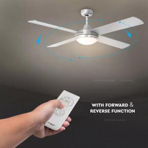 Candelabru cu ventilator 60W, telecomanda 2 becuri, dulie E27, crom mat, V-TAC