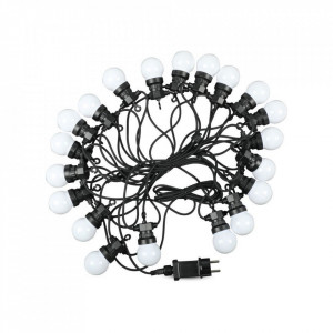 Ghirlanda luminoasa 20 becuri x 0.5W, 10 metri, lumina rece(6000 K), protectie IP44, V-TAC