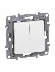 Intrerupator dublu alternativ, alb, 10A, IP20, Legrand Niloe