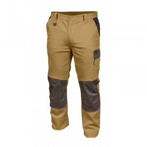 Pantaloni de lucru Edgar, bej cu negru, 5 buzunare, elemente reflectorizante, Hogert Technik