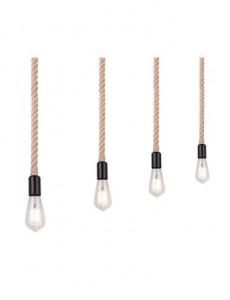 Pendul metal negru cabluri maro, 4 becuri, dulie E27, Globo 69029-4H