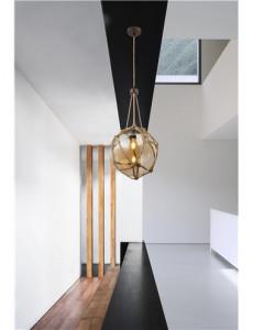 Pendul metal ruginiu cu franghie, 1 bec, dulie E27, Globo 15859H1