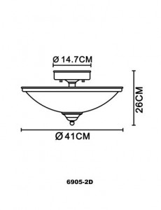 Plafoniera alama antica, 2 becuri, dulie E27, Globo 6905-2D