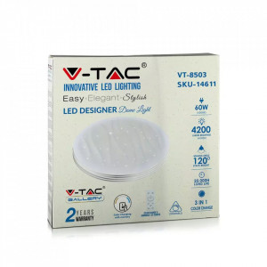 Plafoniera led 60W, diametru 500 mm, 4200 lm, temperatura de culoare reglabila, telecomanda, V-TAC