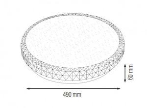 Plafoniera led Ghost 48W, diametru 490 mm, lumina rece (6400 K), roz