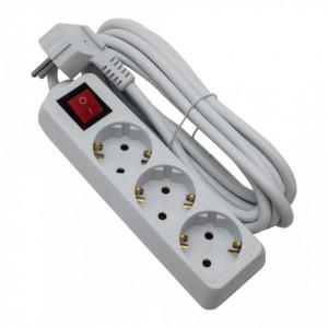 Prelungitor 3 prize 3 metri, cablu 3x1.5, max 16A, cu intrerupator, alb, Strohm