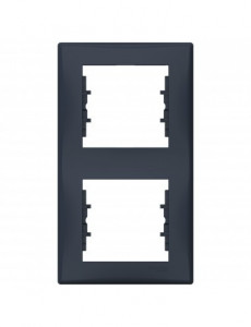 Rama dubla verticala, IP20, Grafit, Schneider Sedna