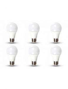 Set 6 becuri led 9W (60W), E27, 806 lm, A+, lumina rece, V-TAC