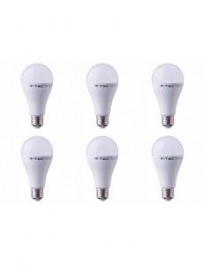 Set 6 becuri led E27, 15W(90W), lumina rece, 6400K, 1350 lm, A+, V-TAC