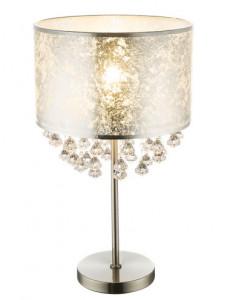 Veioza argintie cu cristale, 1 bec, dulie E27, Globo 15188T3