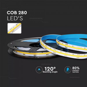Banda led COB 24V, 280 leduri, 10W/M, lumina calda (3000K), V-TAC