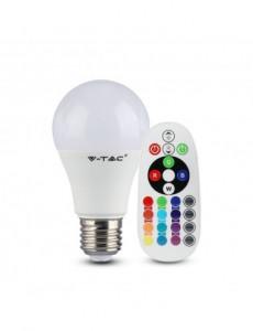 Bec led RGB+3000K, dulie E27, 6W(40W), 470 lm, telecomanda, V-TAC